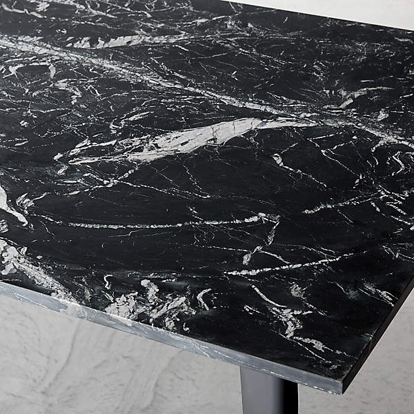 Harper Black Marble Dining Table Top Reviews Cb2