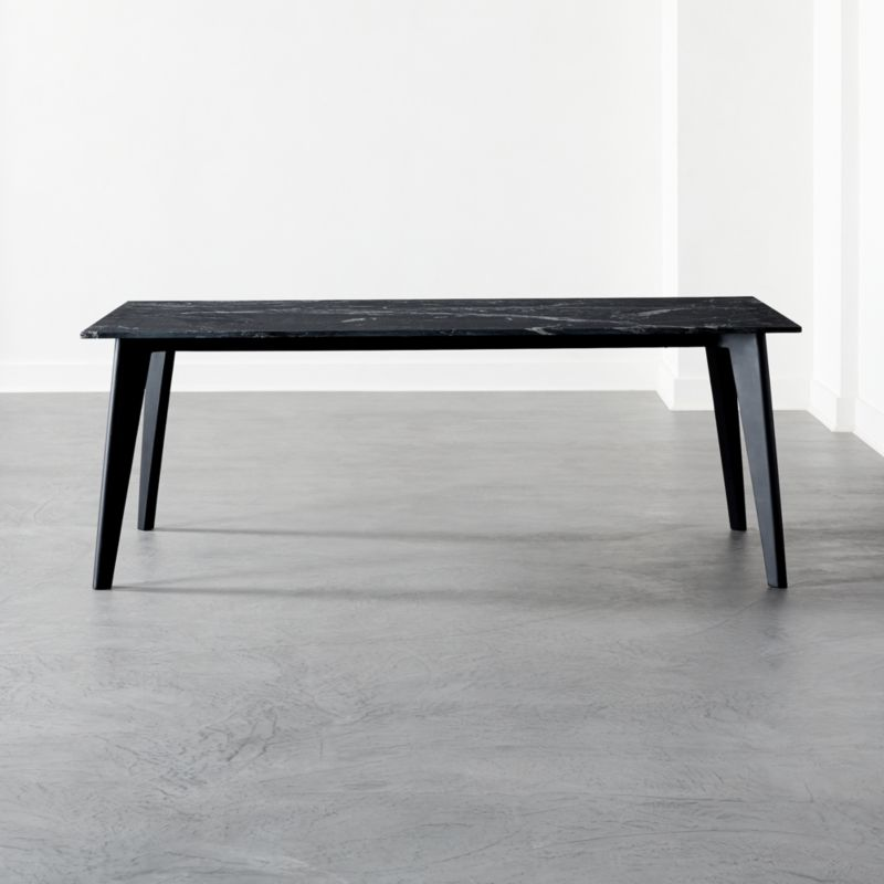 Harper Black Dining Table With Black Marble Top Reviews Cb2