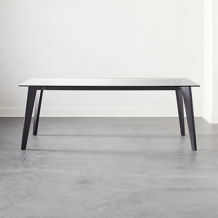 Harper Black Dining Table With Glass Top Reviews Cb2