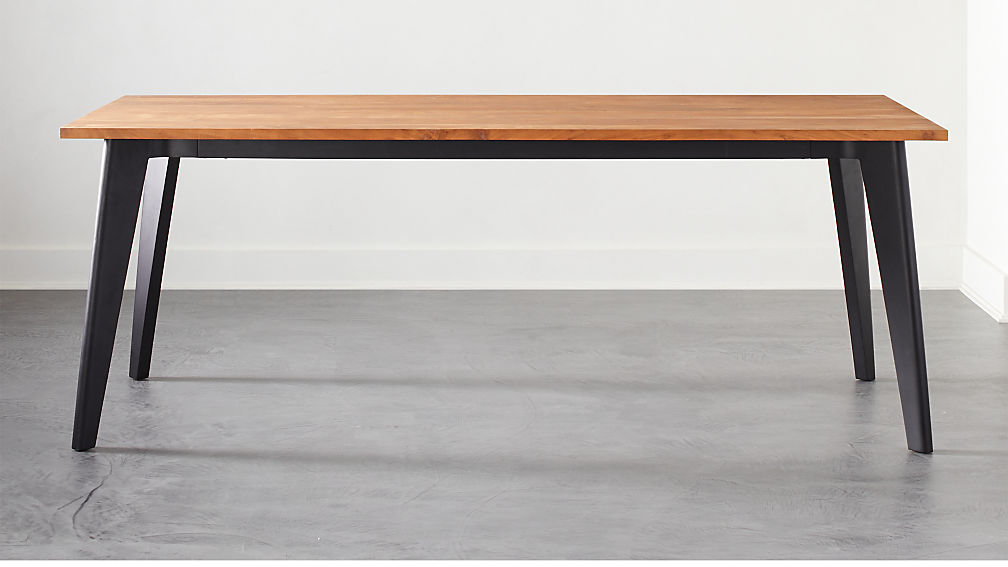 Harper Black Dining Table with Wood Top - Image 1 of 6