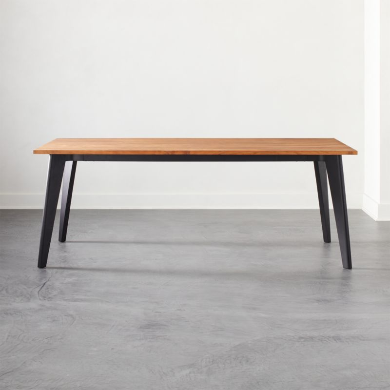 Harper Black Dining Table With Wood Top Reviews Cb2