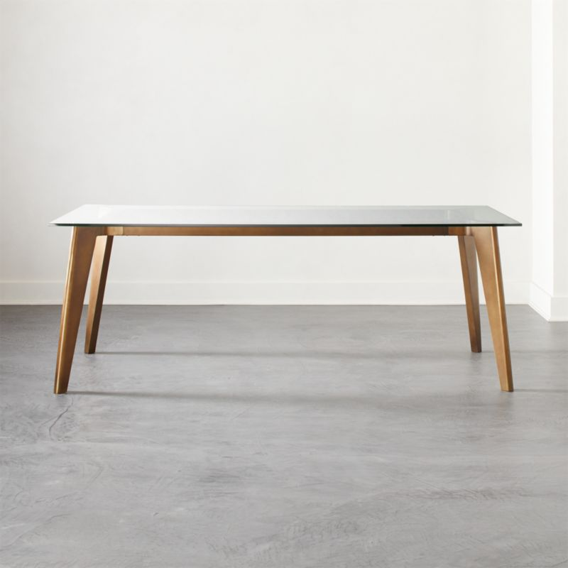 Harper Brass Dining Table With Glass Top Reviews Cb2
