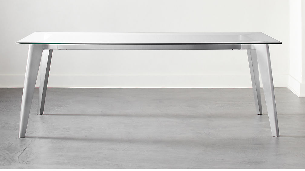Harper Nickel Dining Table with Glass Top - Image 1 of 6