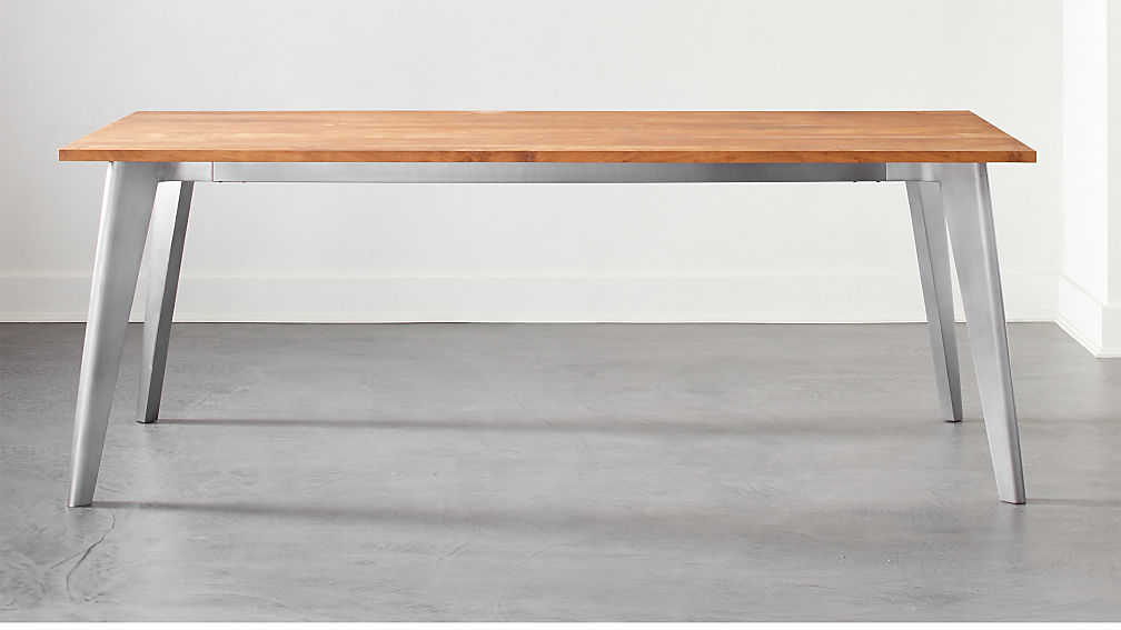 Harper Nickel Dining Table with Wood Top - Image 1 of 6