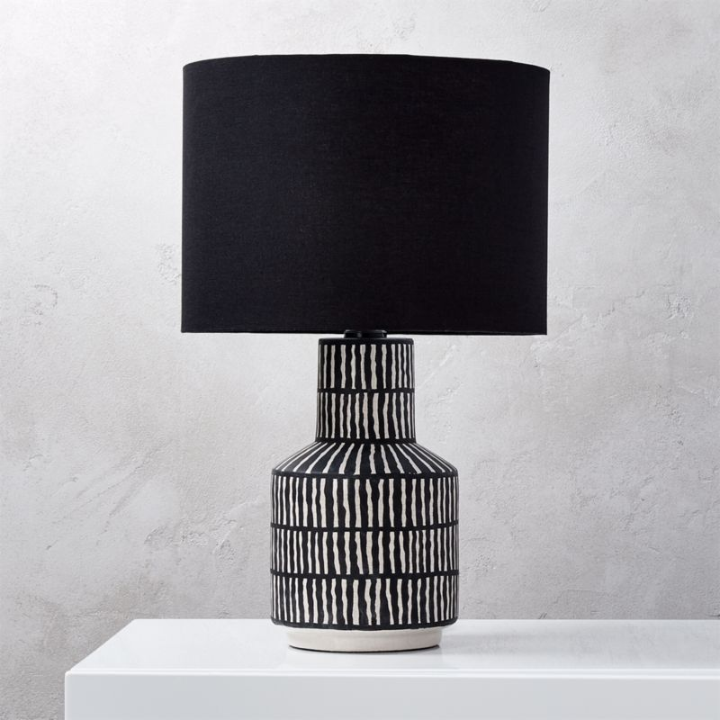 Modern black table lamps cb2 hatch black and white table lamp aloadofball Images