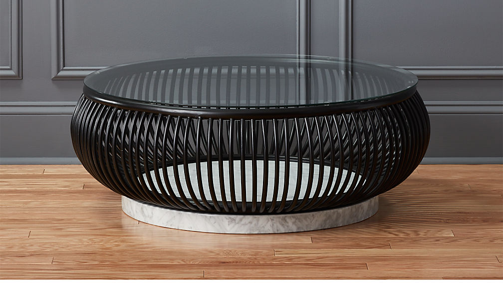 Haven Round Rattan Coffee Table With Glass Top Reviews CB - Cb2 round glass table