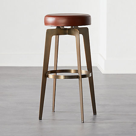 Terrific Hayden Round Bar Stool 30 Brown Cb2 Gmtry Best Dining Table And Chair Ideas Images Gmtryco