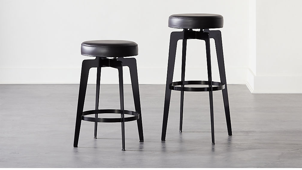 Hayden Round Bar Stools Black - Image 1 of 6
