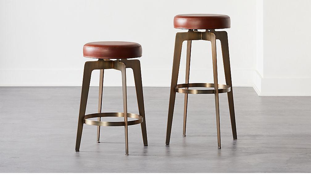 Hayden Round Bar Stools Brown - Image 1 of 7