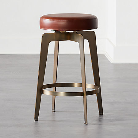 Fine Hayden Round Counter Stool 24 Brown Cb2 Pabps2019 Chair Design Images Pabps2019Com