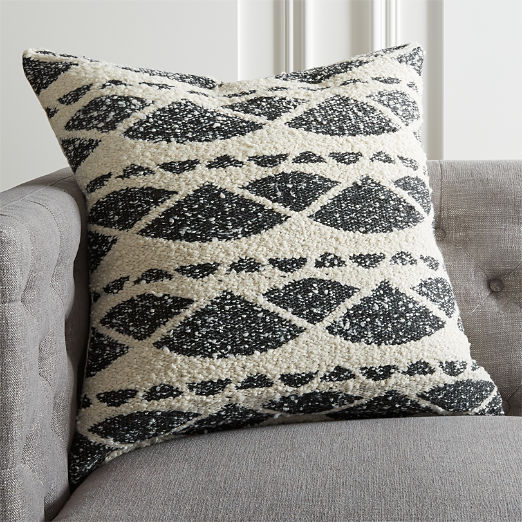 "23"" Hazel Black and White Boucle Pillow"