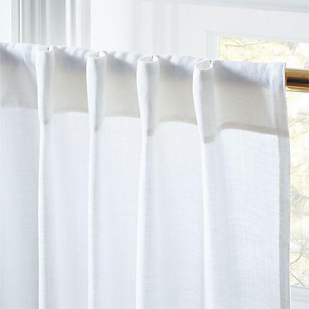 White Linen Curtain Panel 48 X108