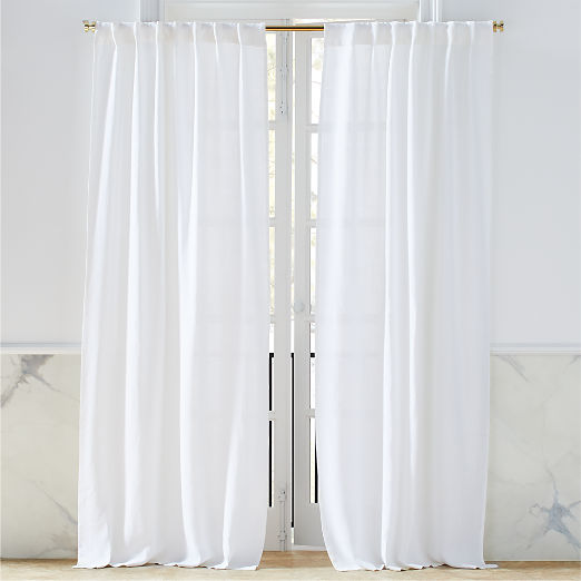 Heavyweight White Linen Curtain Panel