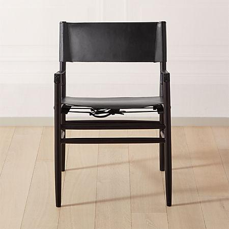 Magnificent Hedwig Black Leather Directors Chair Cb2 Machost Co Dining Chair Design Ideas Machostcouk