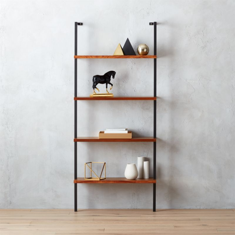 Helix Acacia Wall Mounted Bookcase Reviews Cb2