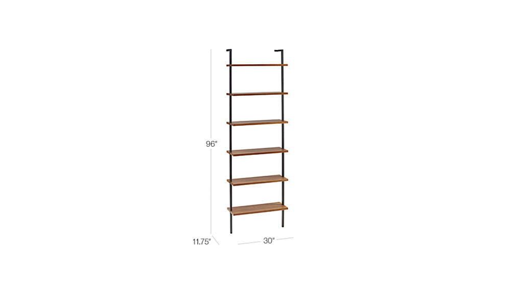 "Image with dimension for Helix 96"" Acacia Bookcase"