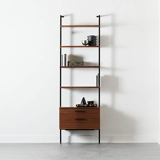 Helix 96 Walnut Bookcase With 2 Drawers Reviews Cb2