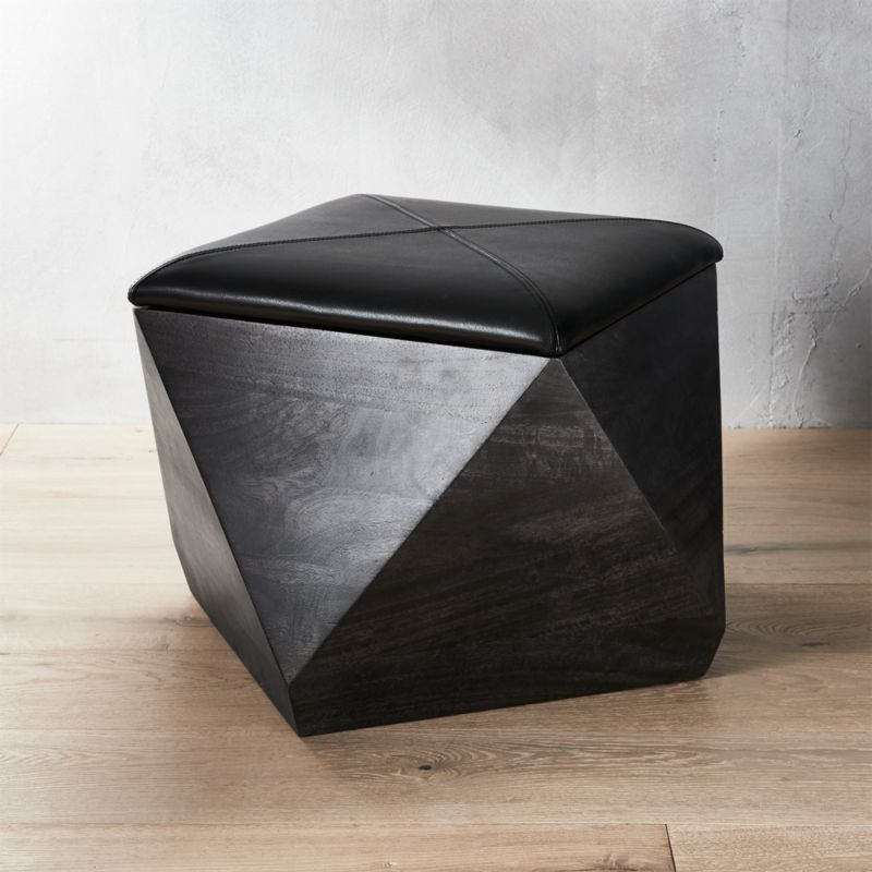 Hex Black Leather Storage Ottoman
