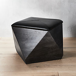 Merveilleux Hex Black Leather Storage Ottoman