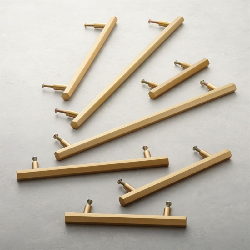 Brushed Brass Copper Silver Or Black Hexagonal T Bar Cupboard Door Pull Handle