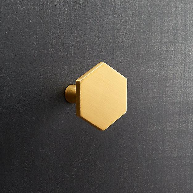 Hex Brushed Brass Knob Reviews Cb2