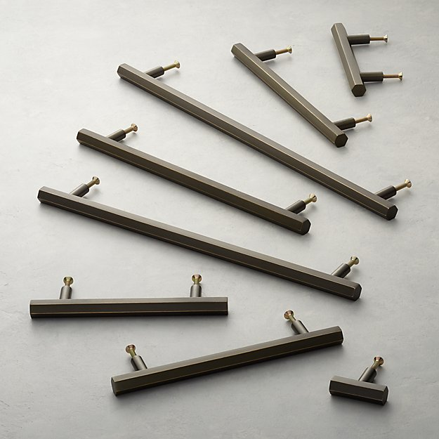 Hex Brushed Bronze Handles and Knob - Image 1 of 9