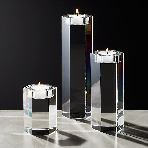 Hex Crystal Tea Light Candle Holders Set of 3 - Image 1 of 9