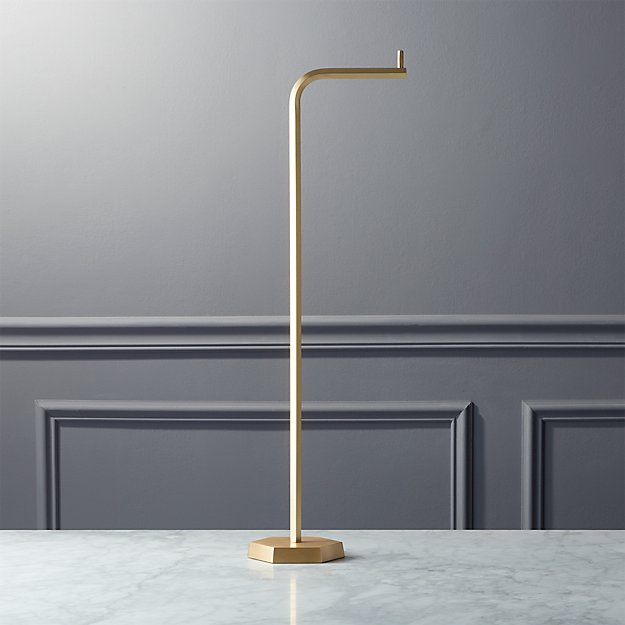 Hex Brass Standing Toilet Paper Holder - Image 1 of 4
