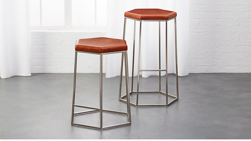 hex brown leather bar stools cb2