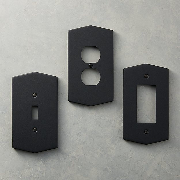 Hex Matte Black Wall Plates - Image 1 of 4