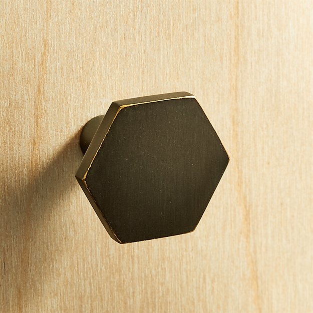 Hex Brushed Bronze Mini Knob - Image 1 of 4