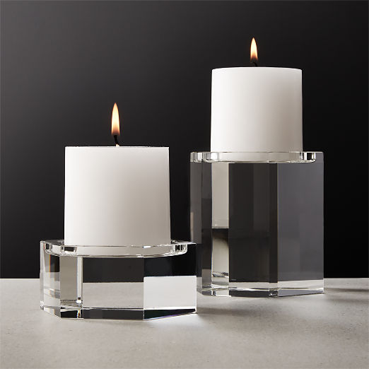 Hex Crystal Pillar Candle Holders