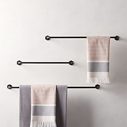 Hex Matte Black Towel Bars