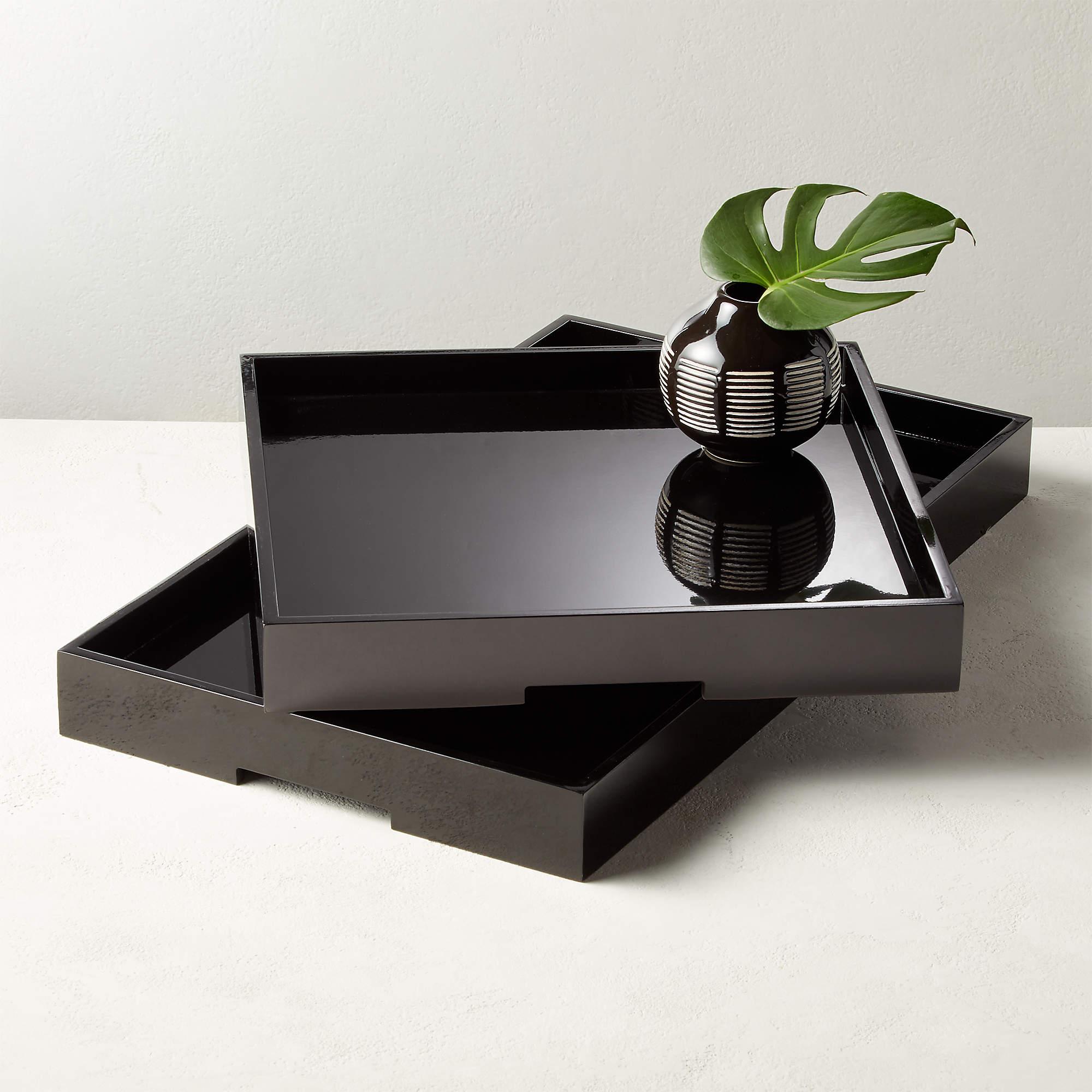 CB2 High Gloss Black Rectangle Tray