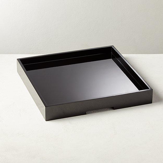 Hi-Gloss Large Black Square Tray - Image 1 of 7