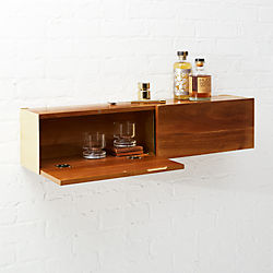 Hide N Seek Acacia Wood Storage Shelf