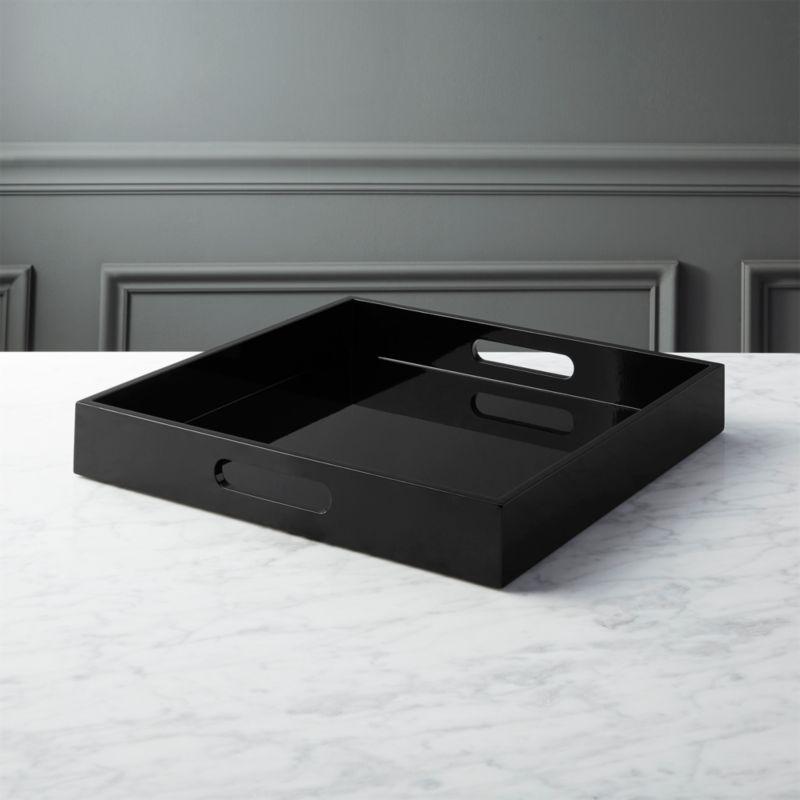 Hi Gloss Square Black Tray Reviews Cb2
