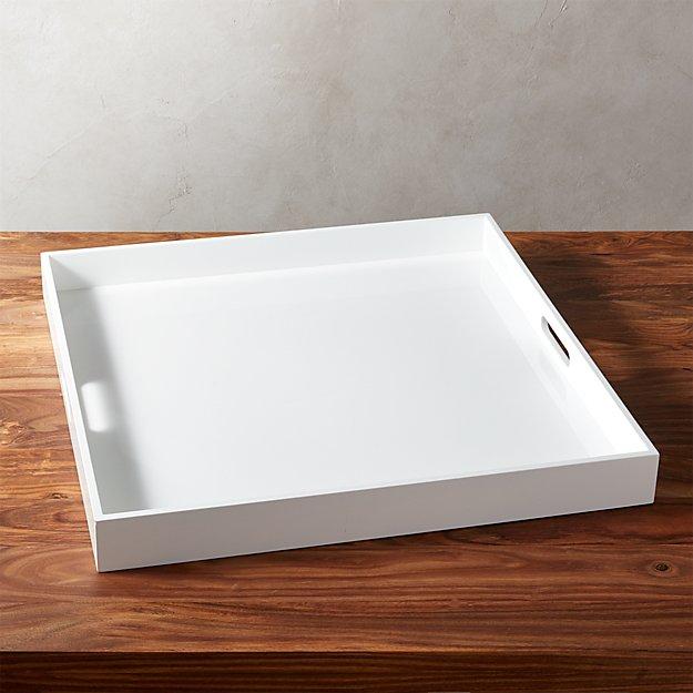 Hi-Gloss Extra Large Square White Tray - Image 1 of 5