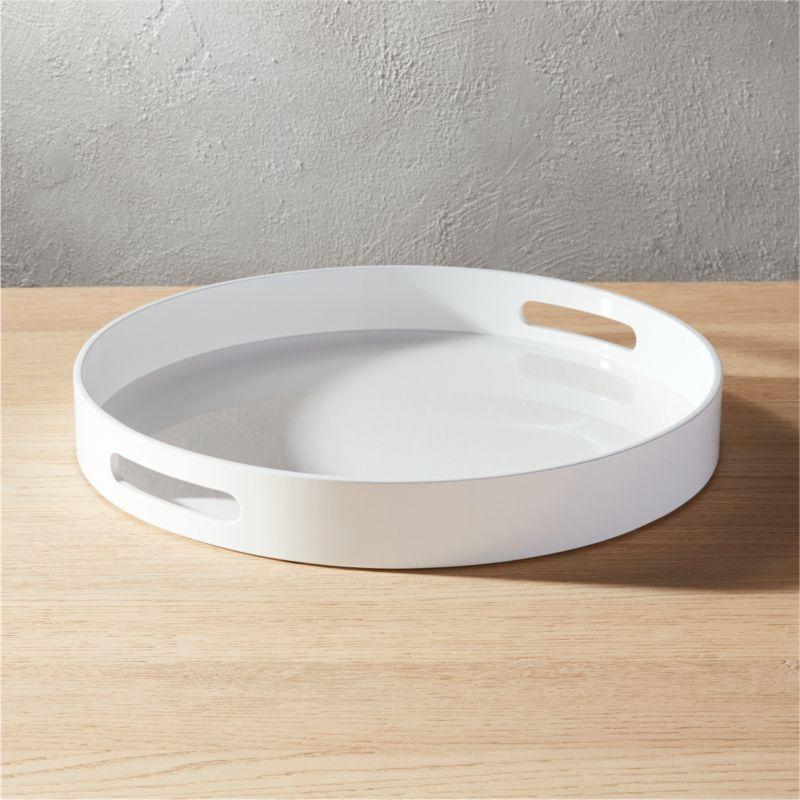 Hi Gloss Round White Tray