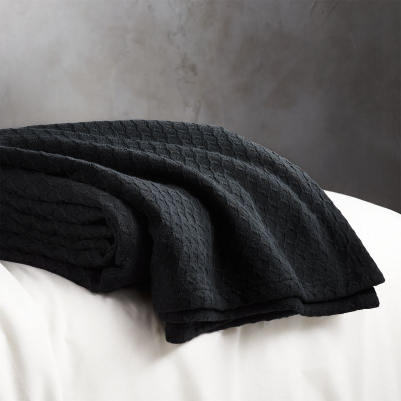 Hive Black Waffle Weave Blanket Full Queen Reviews Cb2