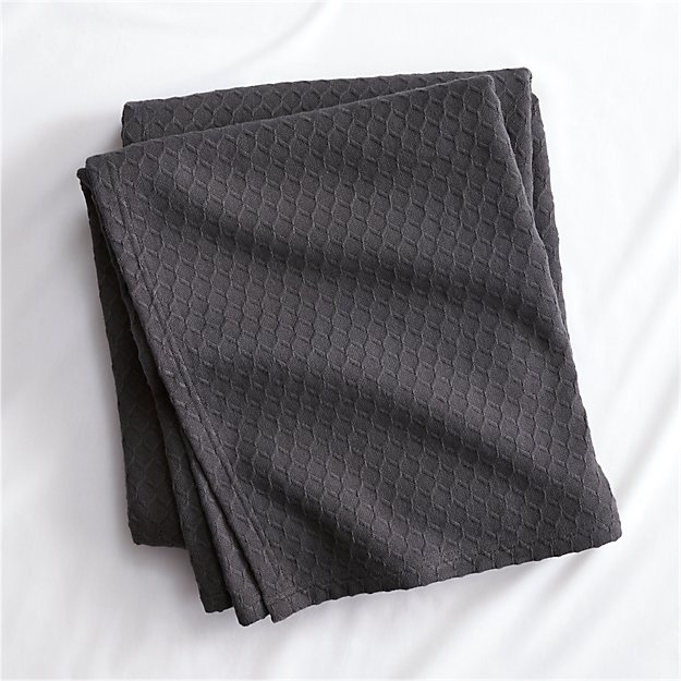 Hive Graphite Waffle Weave Blanket - Image 1 of 6