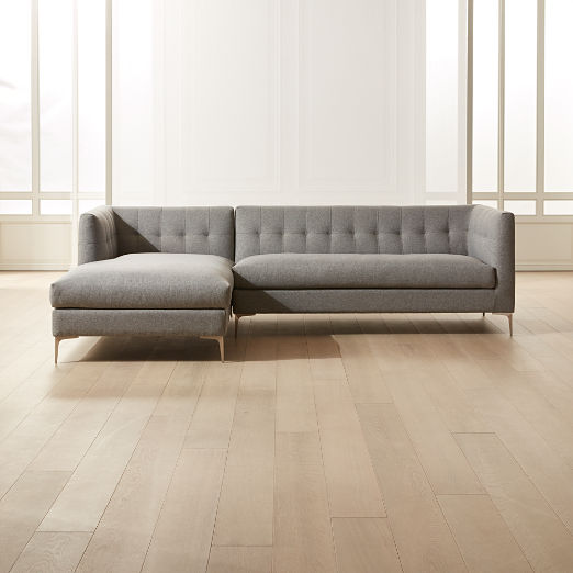 Holden 2-Piece Grey Tufted Sectional Loveseat