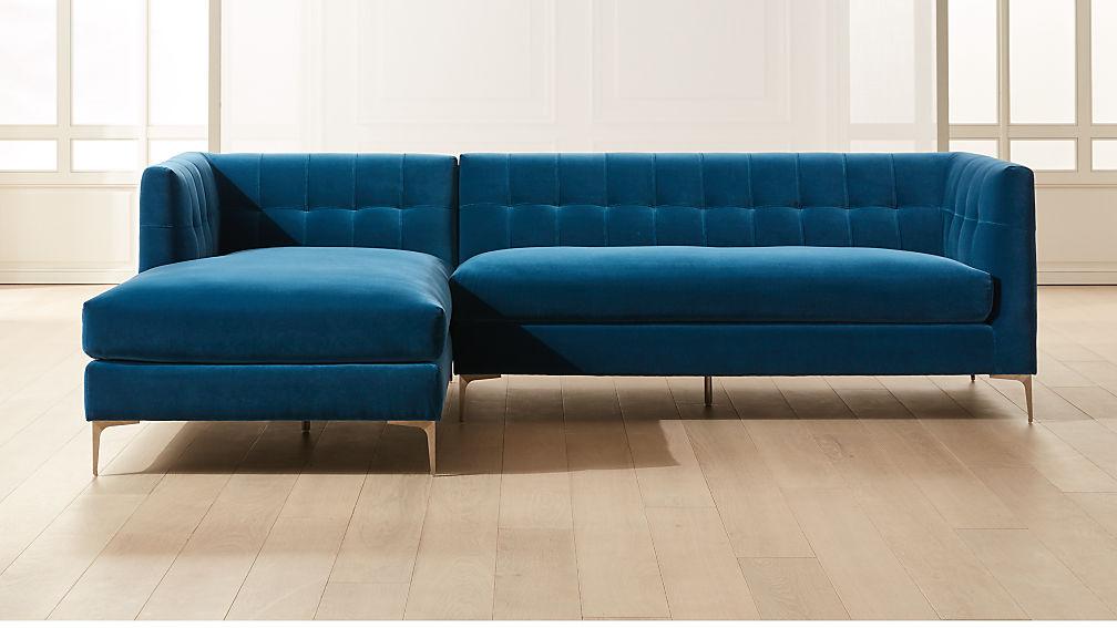 Holden 2-Piece Blue Velvet Tufted Sectional Loveseat - Image 1 of 6