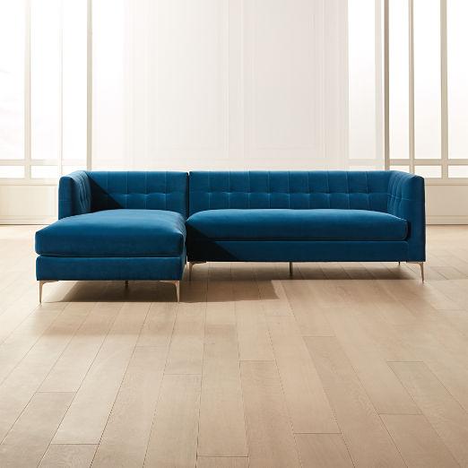Holden 2-Piece Blue Velvet Tufted Sectional Loveseat