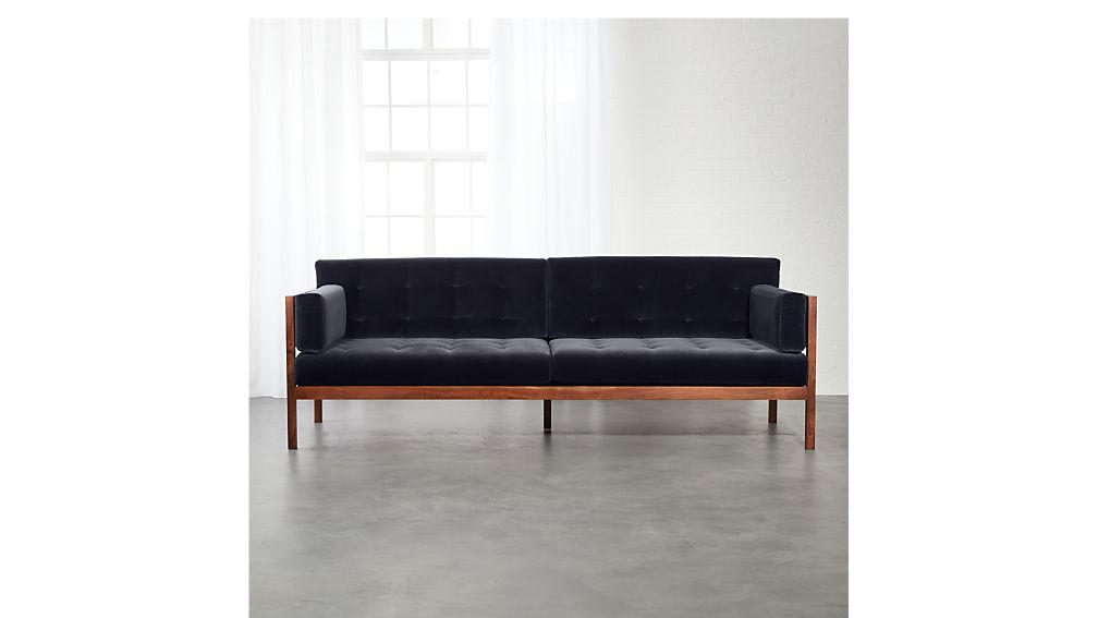 Hollywood Midnight Blue Velvet Sofa + Reviews | CB2
