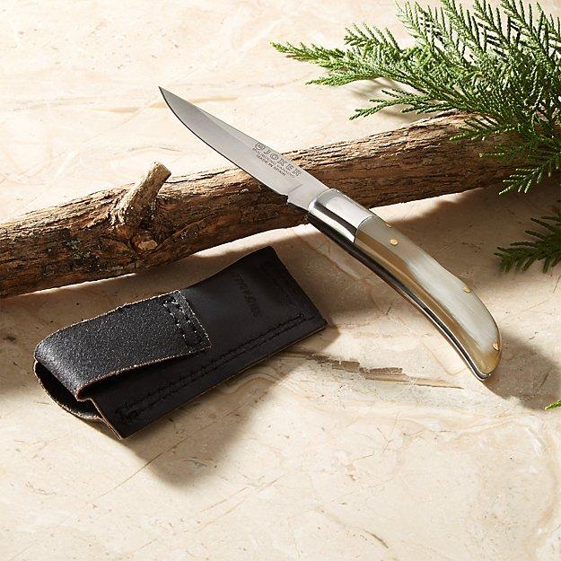Horn Handle Joker Knife and Sheath - Image 1 of 5