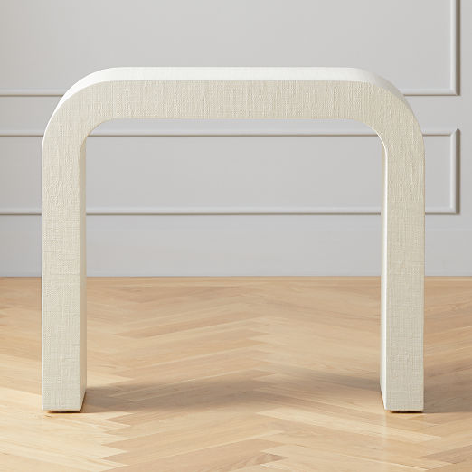 """Horseshoe Ivory Lacquered Linen 36"""" Console Table"""