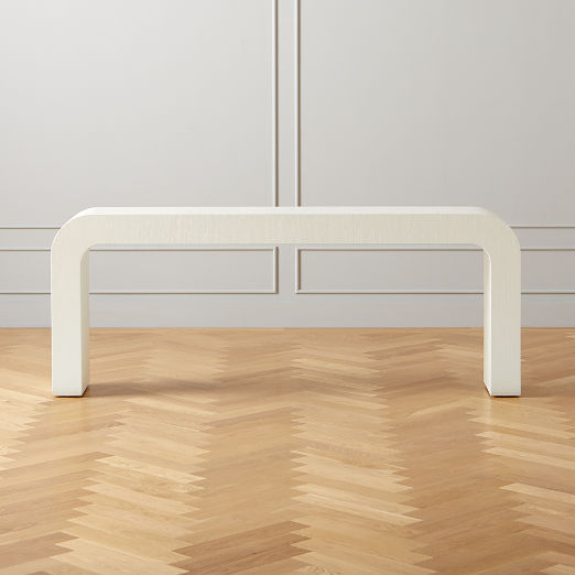 """Horseshoe Ivory Lacquered Linen 80"""" Console Table"""