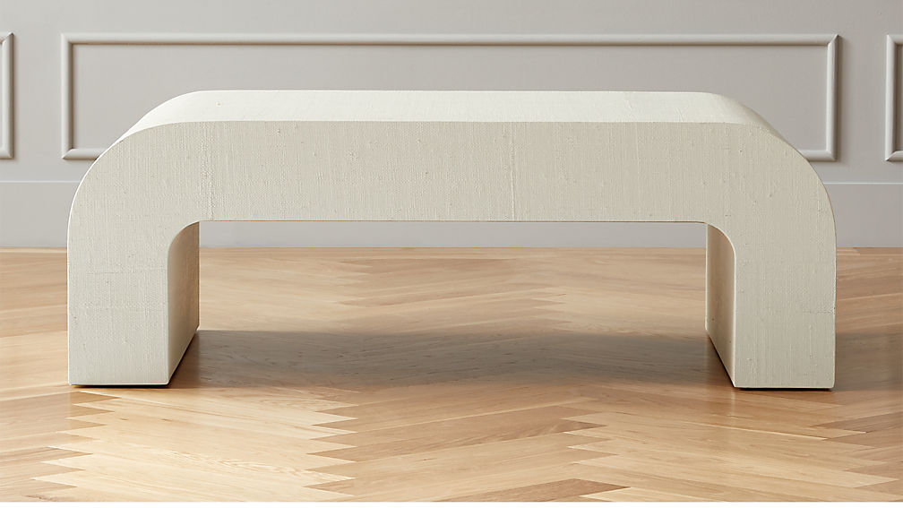 Horseshoe Ivory Lacquered Linen Coffee Table - Image 1 of 8