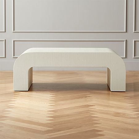 Incredible Horseshoe Ivory Lacquered Linen Coffee Table Caraccident5 Cool Chair Designs And Ideas Caraccident5Info